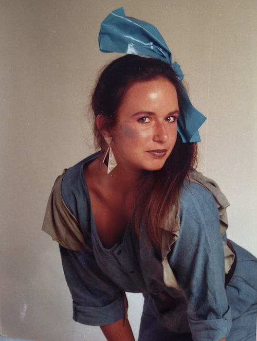 Modeflüsterin Stephanie Grupe als Freizeitmodel, 1985