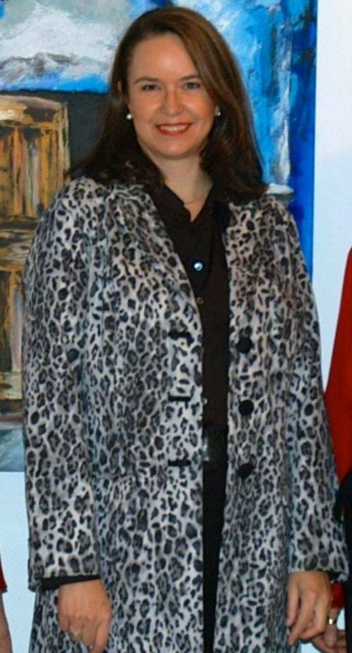 Stephanie Grupe im selbstgenähten Leopardenmantel (2008)