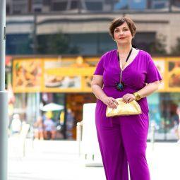 D lila jumpsuit modeshooting berlin fashionweek