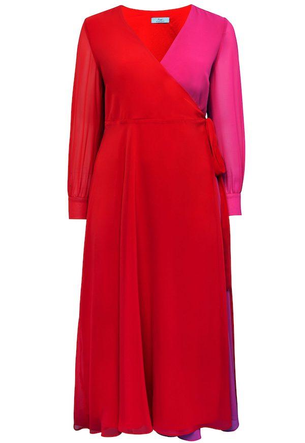 Mode in großen Größen: Maxikleid in Rot-pink.