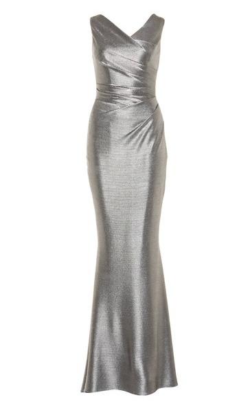 Elegantes, figurbetonendes Abendkleid von Talbot Runhof in schimmerndem Silber