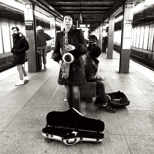 Musikant in der Subway Station