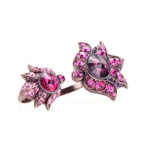 Himbeerfarbener Kristall-Doppelring von Lavin