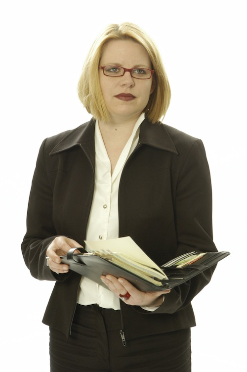 Frauke in klassischen Business-Klamotten