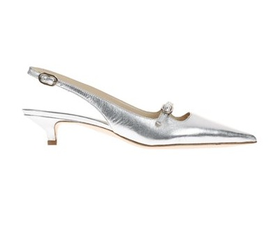 Slingpumps mit Kittenheels in Silber-Metallic