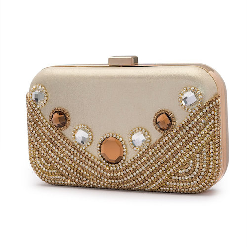 Glitzernde Clutch in Creme