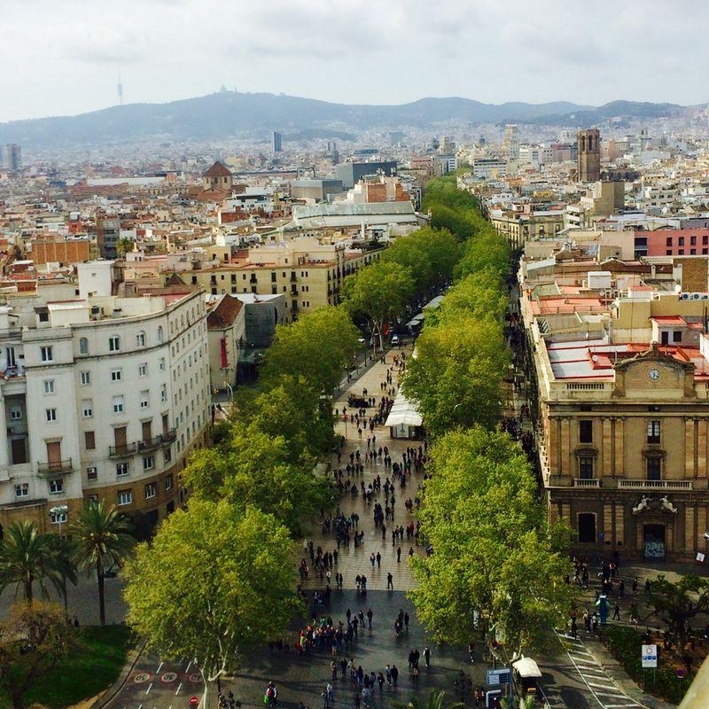 Barcelona: La Rambla von der Kolumbussäule aus gesehen