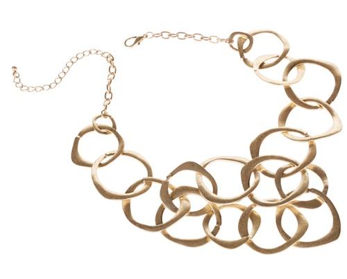 auffälliges Collier mit großen runden Gliedern aus mattiertem Gold