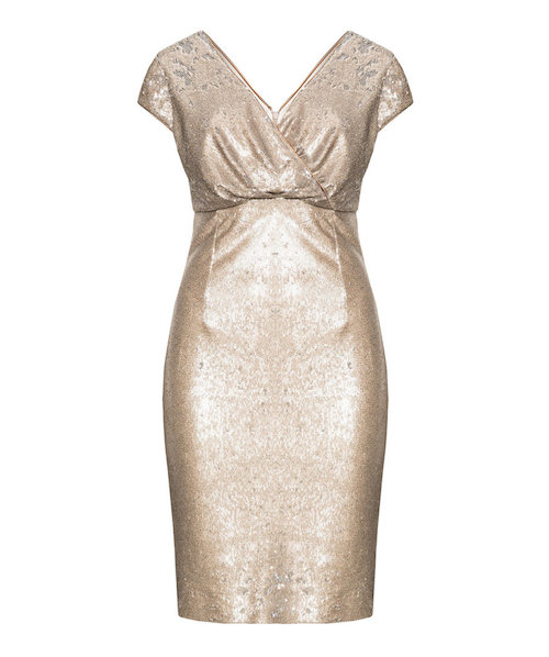 Gold-silbernes Cocktail-Kleid in Wickeloptik
