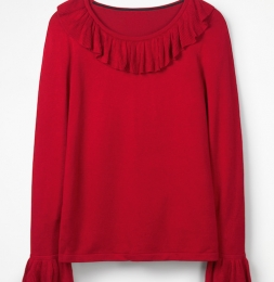 Pulli in rot mit Volants