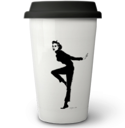 Coffee to go Becher mit tanzender Audrey