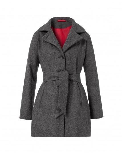 Grauer Mantel mit Gürtel aus regionaler Merinowolle