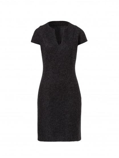 Schwarzes elegantes Kleid ohne Ärmel aus regionalem Schurwoll-Walk