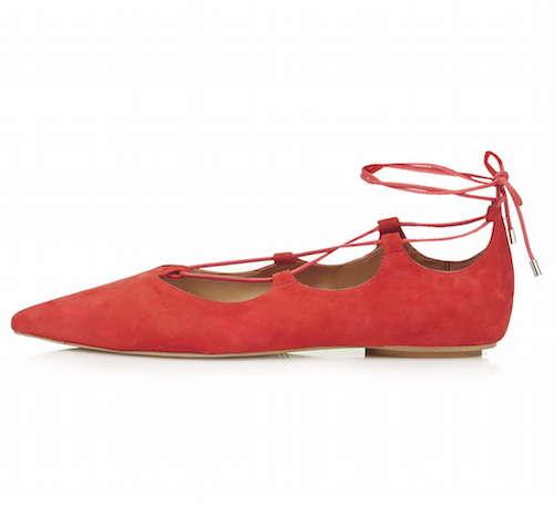 Riemchenballerinas im Ghillie-Style in rot