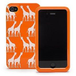 iPhone-Cover in Orange mit weißen Giraffen